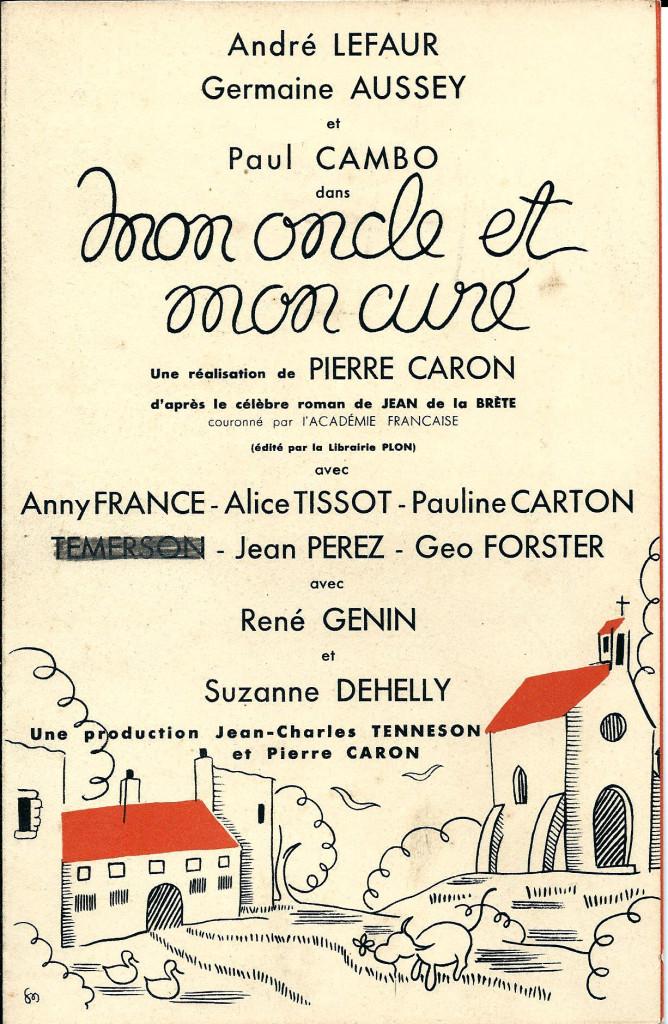 Annonce du film mon oncle et mon curé (archive privée)