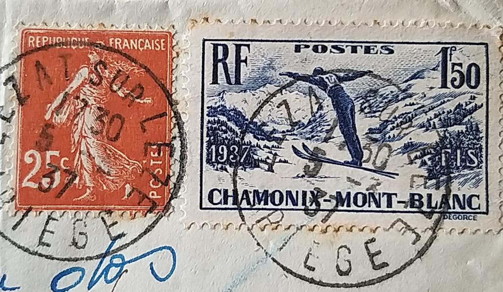 Semeuse et sport d'hiver, timbre de 1937.