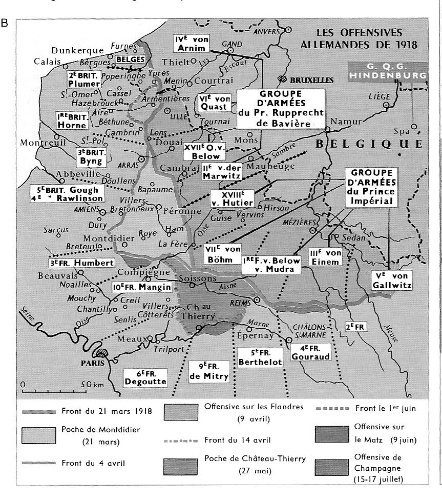 carte offensives 1918