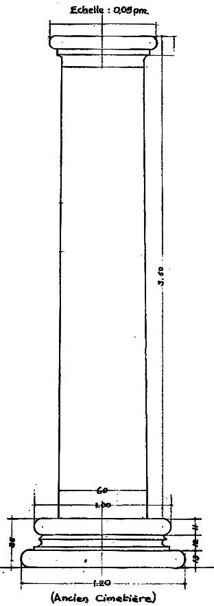 La colonne des curés, relevé archéologique de P. Broise (1954)