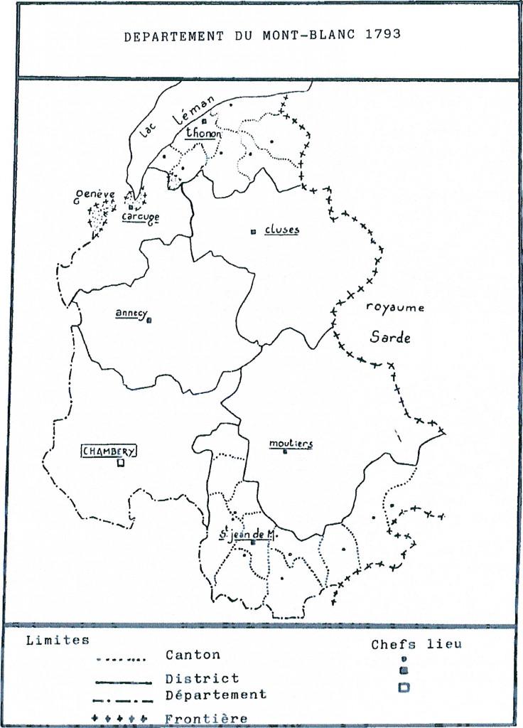 Carte du département du Mont-Blanc en 1793