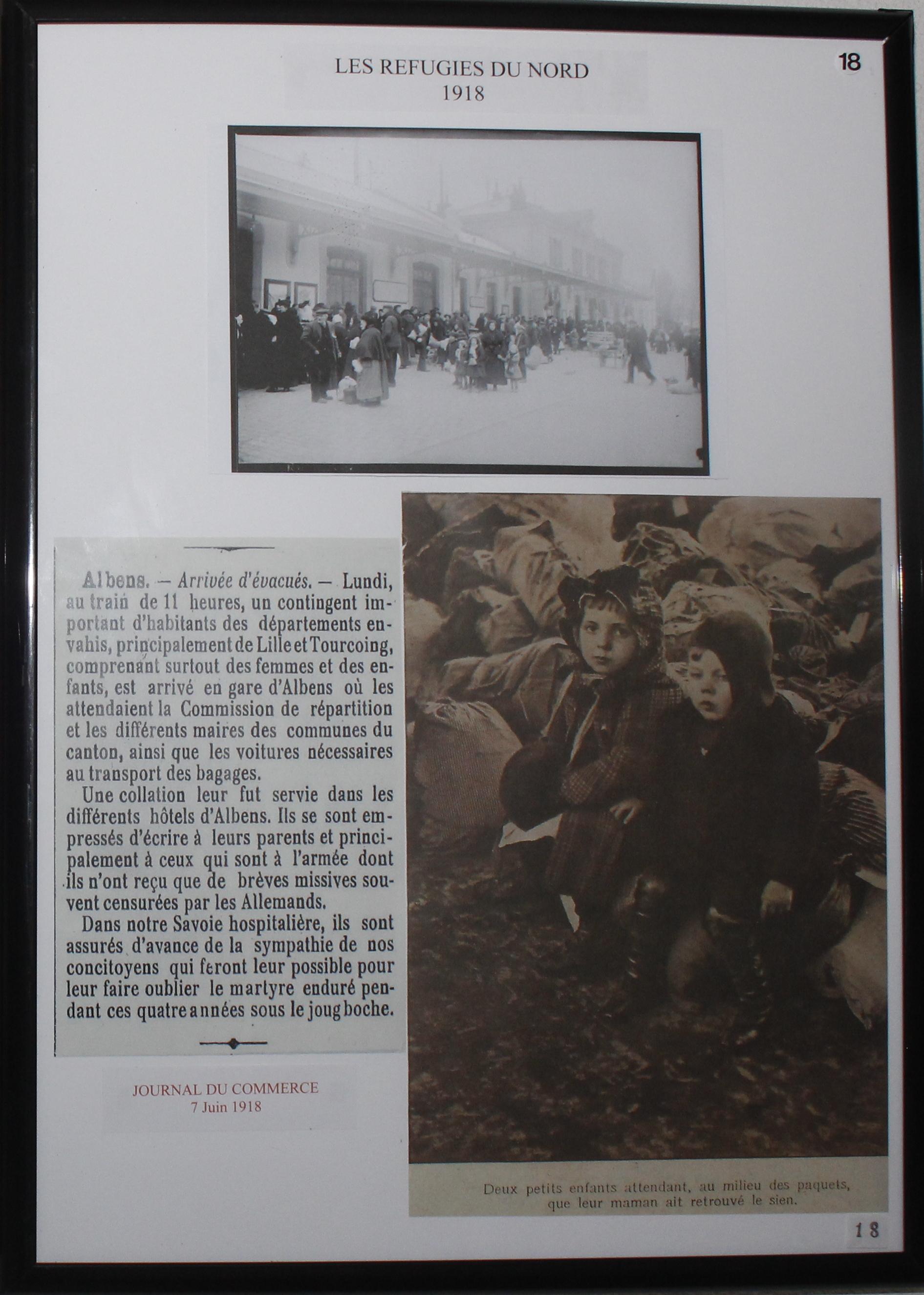 Arrivée des réfugiés du Nord à Albens