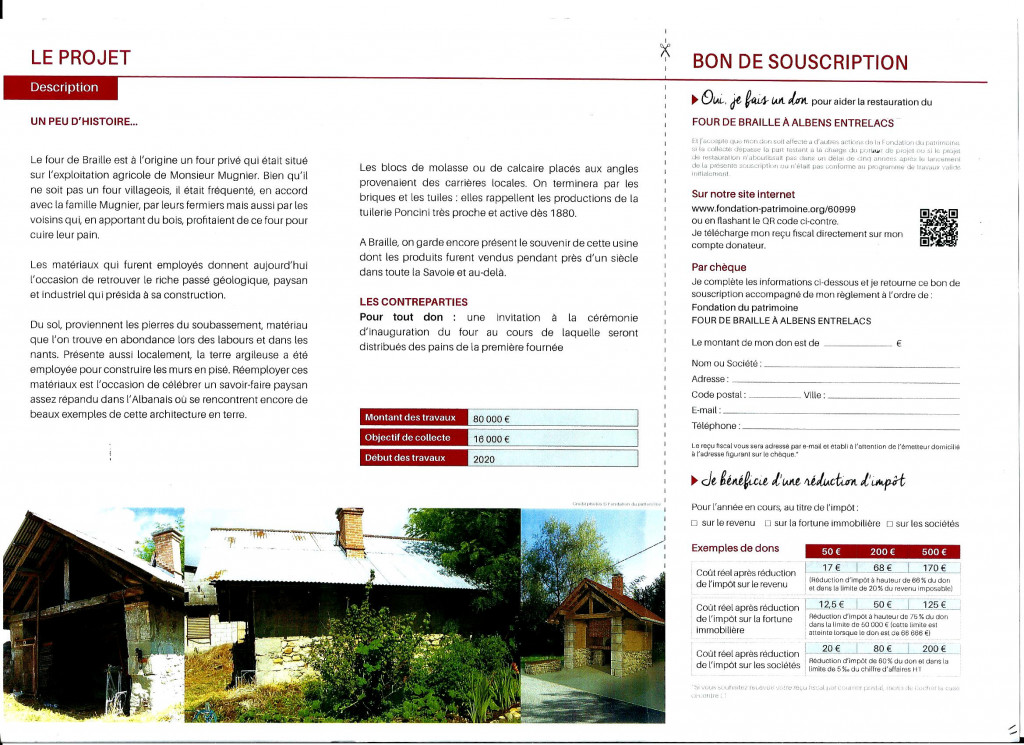 Bon de souscription pour la reconstruction du four de Braille page 1