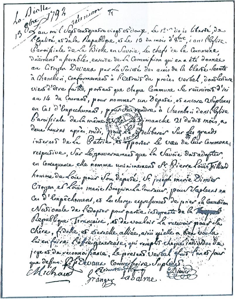 PV de réunion en 1792 à La Biolle